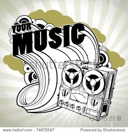 手绘与复古的音乐海报录音机.分层.向量eps 10插图.