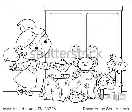 可爱的小女孩倒茶洋娃娃和泰迪熊.黑白插图