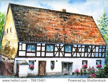 手画的照片老木架房子在德国一个小村庄.