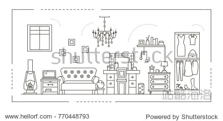 house interior design in thin line style.