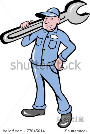 矢量图的机械活动扳手站在前面做卡通风格孤立的背景