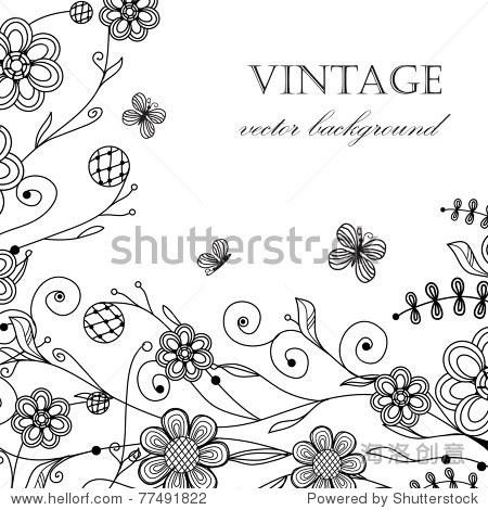 古董花卡与手绘花朵和蝴蝶 - 艺术,背景/素材 - 站酷