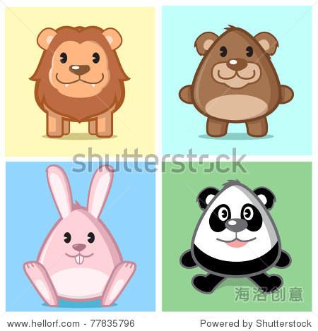 形象的动物(狮子,熊,兔子