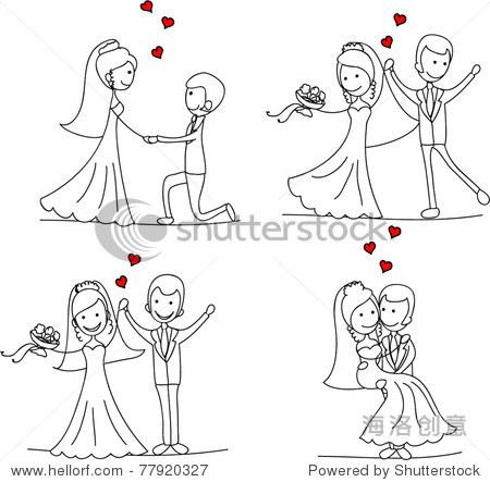 情侣,幸福的新娘和新郎