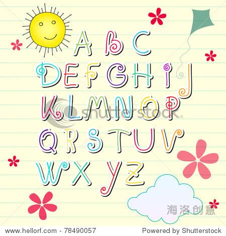 插画手绘风格的可爱的夏天随笔集字母字母
