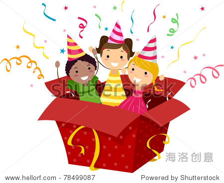illustration of kids popping out of a gift box