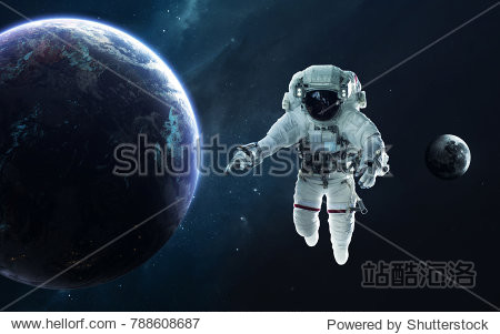 Astronaut and Earth planet. Science fiction wallpaper. Elements of this image furnished by NASA