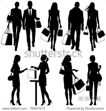 several people shopping - vector silhouettes