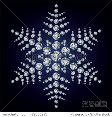 雪花由钻石构成的.矢量图