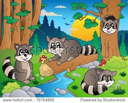 森林场景与各种动物7 -矢量插图.
