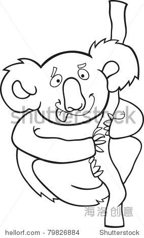 澳大利亚考拉的卡通插图着色书-动物/野生生物,自然