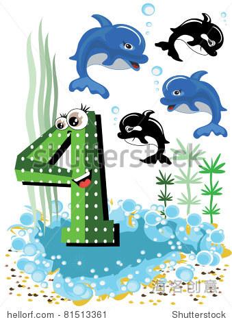 海洋动物和数字系列的孩子,从0到10 4,海豚