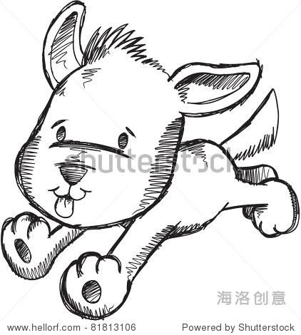 可爱的素描矢量插图涂鸦的小狗狗 - 动物/野生生物