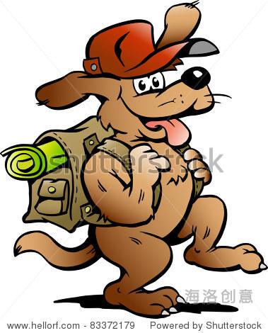 手绘矢量插图的旅行背包客的狗