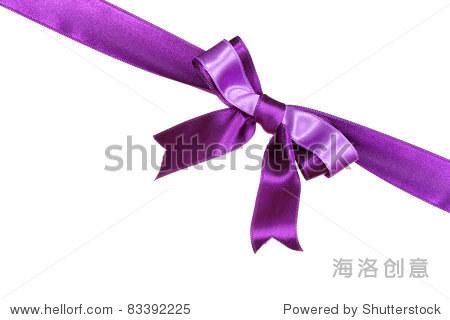 紫色的丝带和蝴蝶结孤立在白色背景