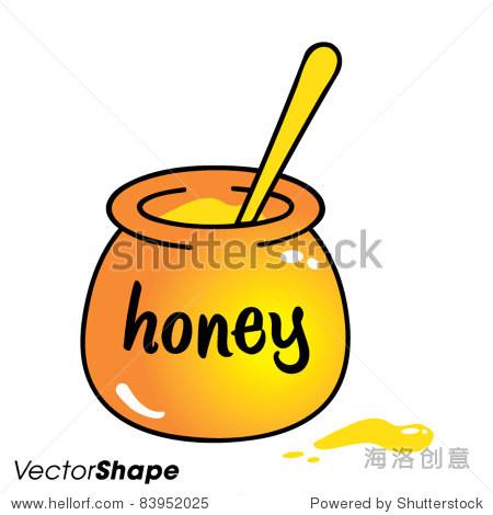 用勺子,矢量图的蜜糖罐的卡通画 - 站酷海洛正版图片
