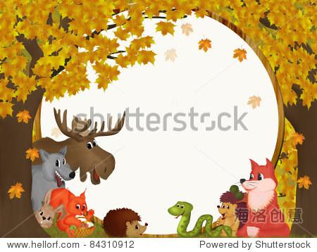 说明秋天的森林和动物