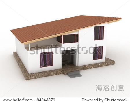 斜面屋顶的房子在一个白色背景吗?