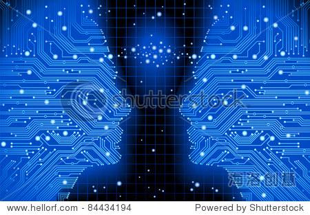 抽象的蓝色背景矢量高科技电路板 - 人物,科技 - 站酷