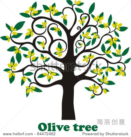 绿色的橄榄树.孤立在白色背景上.矢量图
