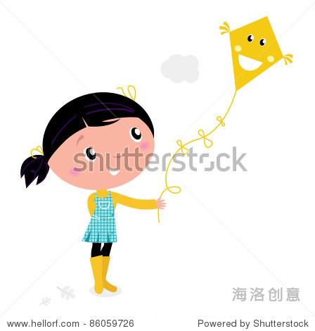 可爱的小孩放风筝 向量的卡通插图 假期,教育 海洛创意正版图片,图片