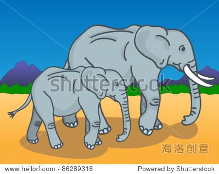 可爱卡通的母亲和婴儿大象走在阳光下的非洲大草原在后台山和树.