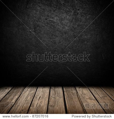 黑色的室内背景墙,木地板