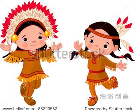 可爱的美国印第安人孩子们跳舞