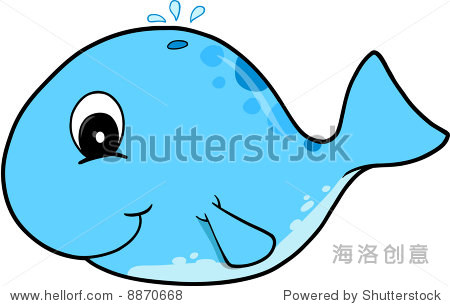 可爱的蓝鲸矢量插图