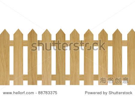 棕色的木栅栏孤立在白色背景