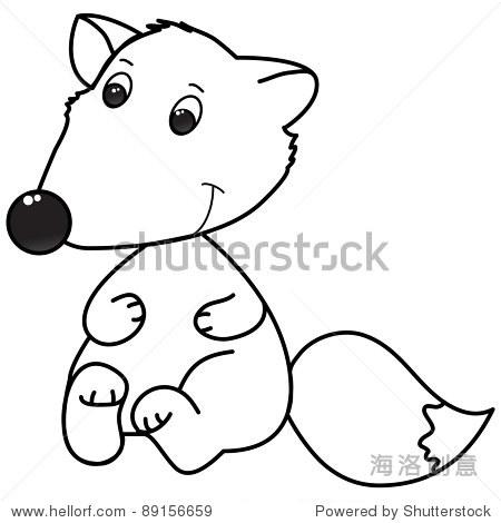 快乐的小狐狸卡通,线条艺术,着色