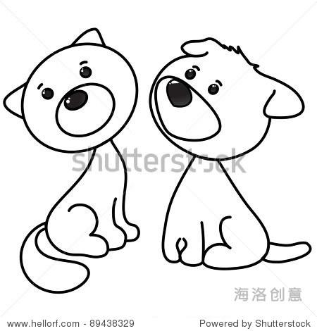 可爱的猫狗卡通,艺术线条,着色
