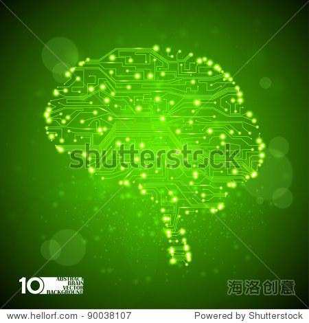 电路板向量背景,技术说明,大脑eps10形式