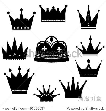 矢量图与皇冠收集孤立在白色背景