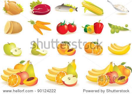各种图标集的食物:水果,蔬菜,肉,玉米.矢量图