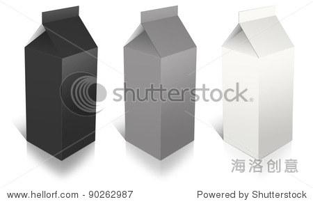 在白色背景牛奶的盒子
