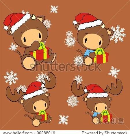 公牛宝宝卡通圣诞矢量格式 - 假期,动物/野生生物