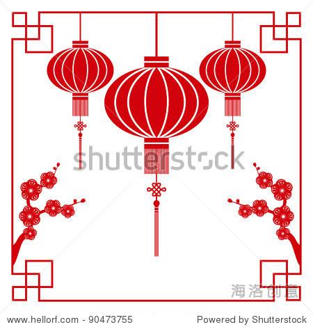 中国剪纸图案的灯笼和樱花