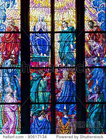 彩色玻璃窗户天主教寺庙. - 符号/标志,背景/素材