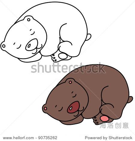 小可爱的卡通熊睡觉,行艺术,着色彩色版本