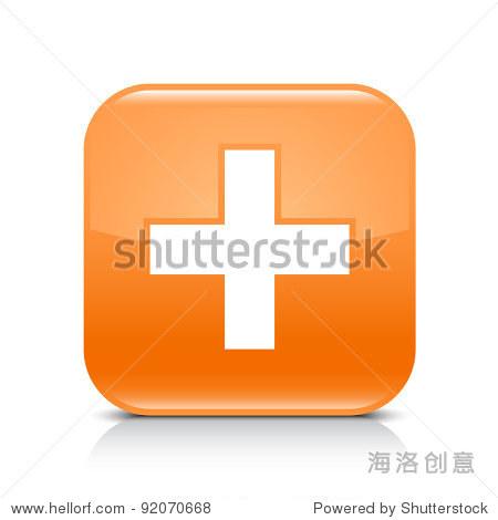 添加标志 圆角正方形白色背景图标阴影和反思 这个向量插图创建和