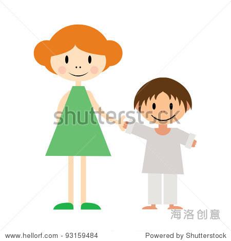 矢量图的两个小孩子:妹妹和弟弟