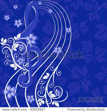 音乐背景高音谱号,花朵图案-符号/标志,自然-海洛创意