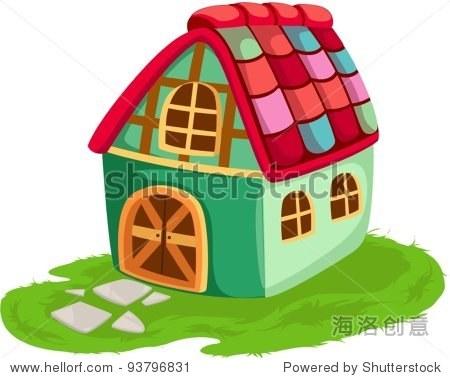 孤立在白色背景卡通房子