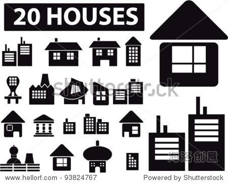 20个房子图标集,矢量插图
