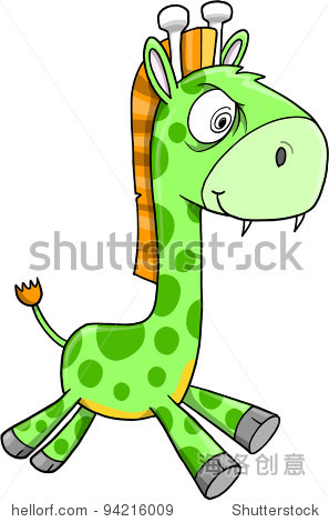 有毒的疯狂绿色长颈鹿动物狩猎野生动物矢量插图艺术