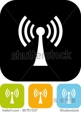 天线传播无线电信号矢量图标孤立