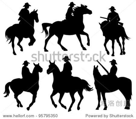 牛仔骑马——黑色矢量剪影的白色 - 动物/野生生物