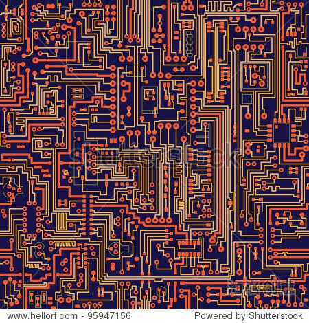 无缝向量颜色纹理-电子电路板