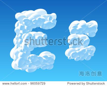 云字母表的矢量插图.性格e